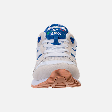 Front view of Unisex Diadora N9000 III Casual Shoes in Stone/White/Blue
