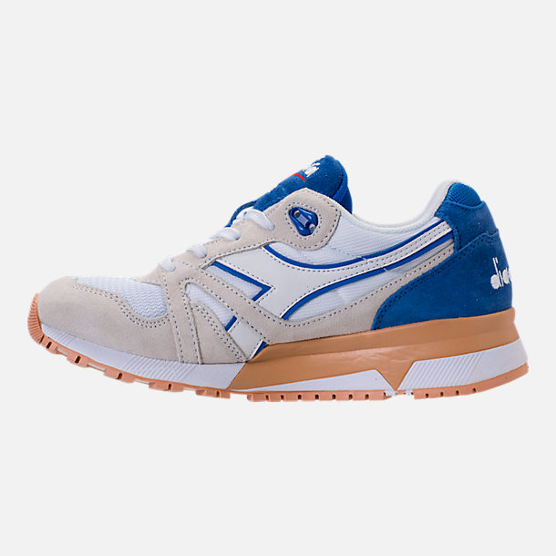 Left view of Unisex Diadora N9000 III Casual Shoes in Stone/White/Blue