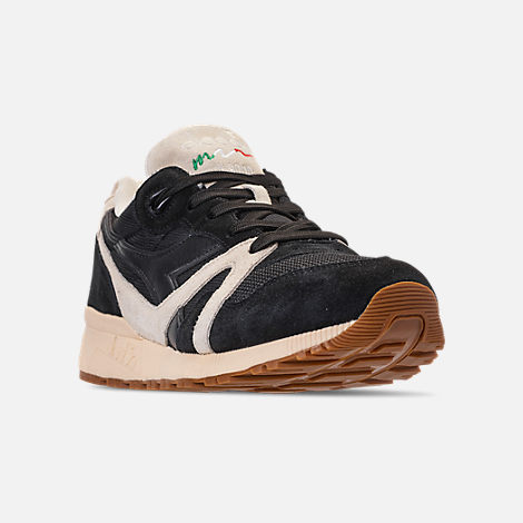 Three Quarter view of Unisex Diadora N9000 III Casual Shoes in Black/White/Off White