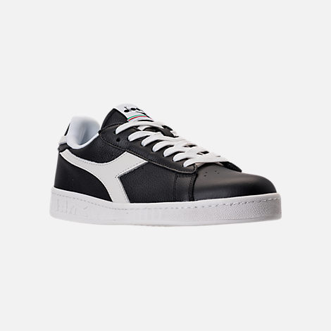Three Quarter view of Unisex Diadora Game L Low Casual Shoes in Black/White