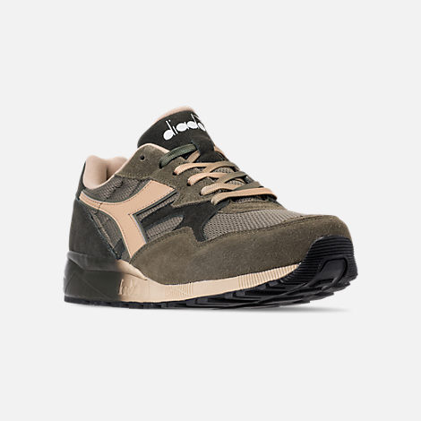 Three Quarter view of Men's Diadora N902 Speckled Casual Shoes in Pewter/Beige/Dark Grey