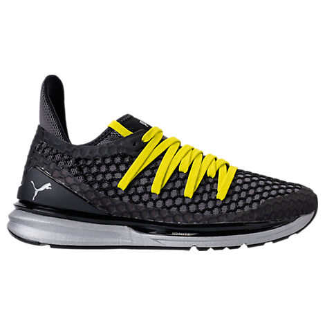 Puma Men S Ignite Limitless Netfit Nightcat Casual Sneakers From Finish Line  In Black-Nrgy Yellow 105c745f0