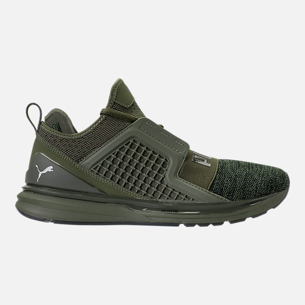 Right view of Men's Puma Ignite Limitless Knit Casual Shoes in Olive Night/Puma Black