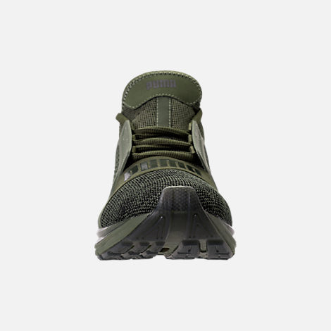 Front view of Men's Puma Ignite Limitless Knit Casual Shoes in Olive Night/Puma Black