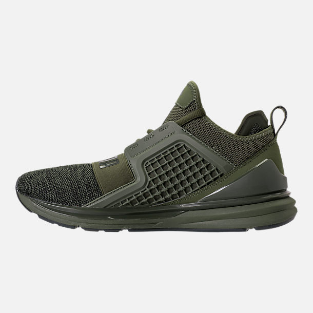 Left view of Men's Puma Ignite Limitless Knit Casual Shoes in Olive Night/Puma Black