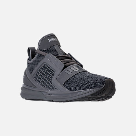 Three Quarter view of Men's Puma Ignite Limitless Knit Casual Shoes in Quiet Shade/Puma Silver