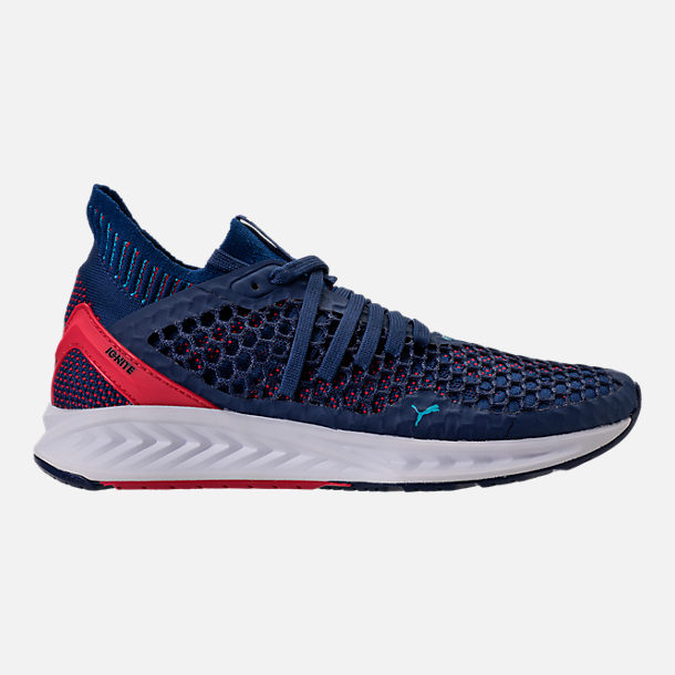 Right view of Men's Puma Ignite NETFIT Running Shoes in Blue/Red/White