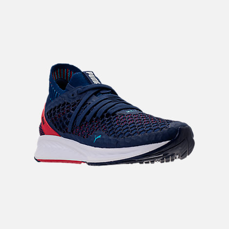 Three Quarter view of Men's Puma Ignite NETFIT Running Shoes in Blue/Red/White