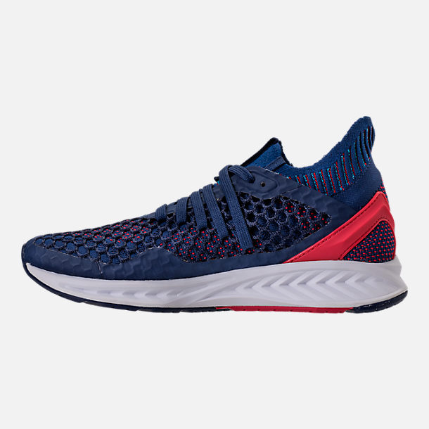 Left view of Men's Puma Ignite NETFIT Running Shoes in Blue/Red/White