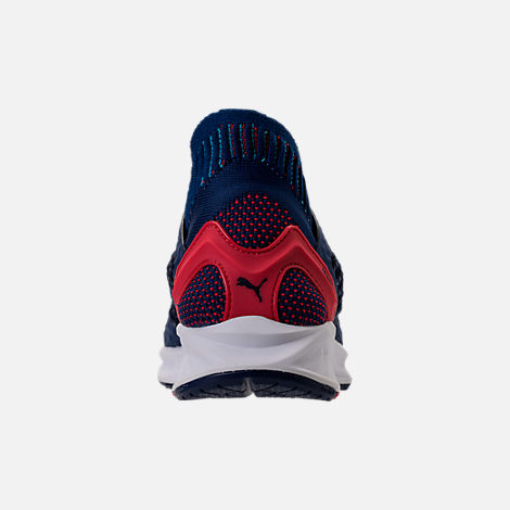 Back view of Men's Puma Ignite NETFIT Running Shoes in Blue/Red/White