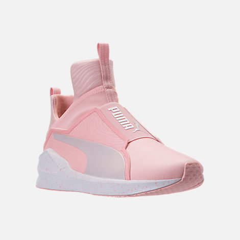 Three Quarter view of Women's Puma Fierce Bleached Training Shoes in Veiled Rose/Puma White