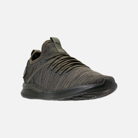 Three Quarter view of Men's Puma Ignite Flash Evoknit Casual Shoes in Forest Night/Castor Grey/Puma Black