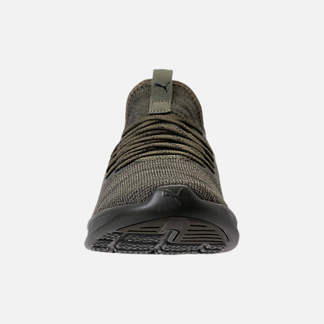 Front view of Men's Puma Ignite Flash Evoknit Casual Shoes in Forest Night/Castor Grey/Puma Black