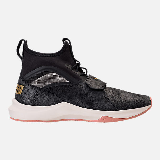 Right view of Women's Puma Phenom Shimmer Casual Shoes in Puma Black/Puma Team Gold