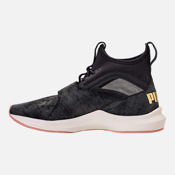 Left view of Women's Puma Phenom Shimmer Casual Shoes in Puma Black/Puma Team Gold