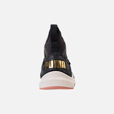 Back view of Women's Puma Phenom Shimmer Casual Shoes in Puma Black/Puma Team Gold