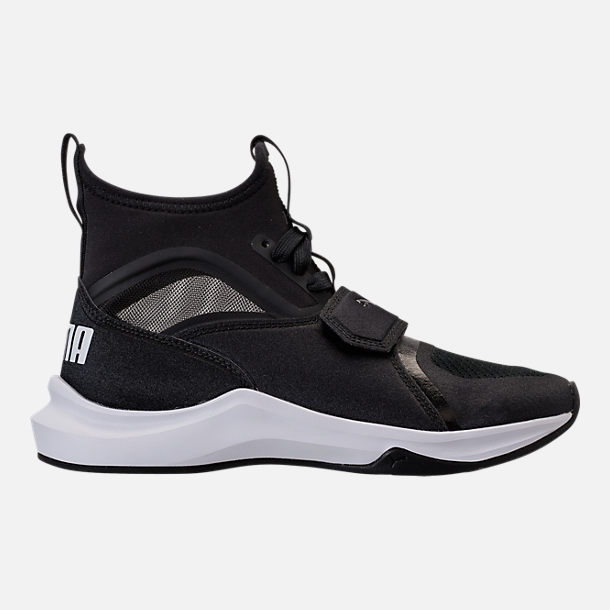 Right view of Girls' Grade School Puma Phenom Casual Shoes in Black/White