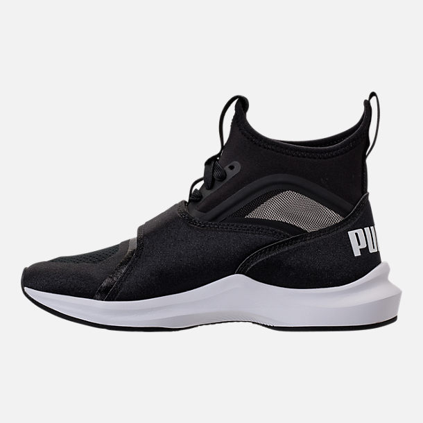 Left view of Girls' Grade School Puma Phenom Casual Shoes in Black/White