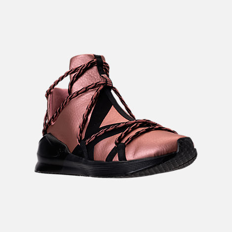 Three Quarter view of Women's Puma Fierce Rope Copper Velvet Rope Training Shoes in Copper Rose/Black