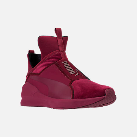 Three Quarter view of Women's Puma Fierce Velvet Training Shoes in Cordovan