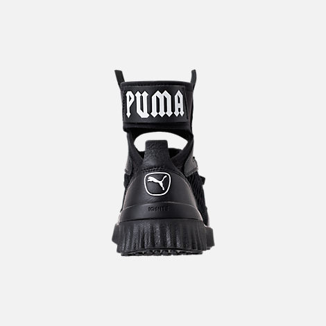 Back view of Women's Puma x Rihanna Fenty Trainer Mid Casual Shoes in Black