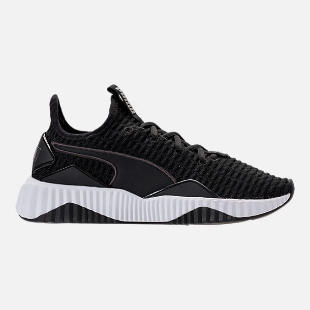 Right view of Women's Puma Defy Casual Shoes in Black/White
