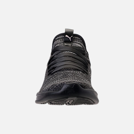 Front view of Women's Puma Ignite Flash Satin EP Casual Shoes in Puma Black/Periscope/Metallic Beige