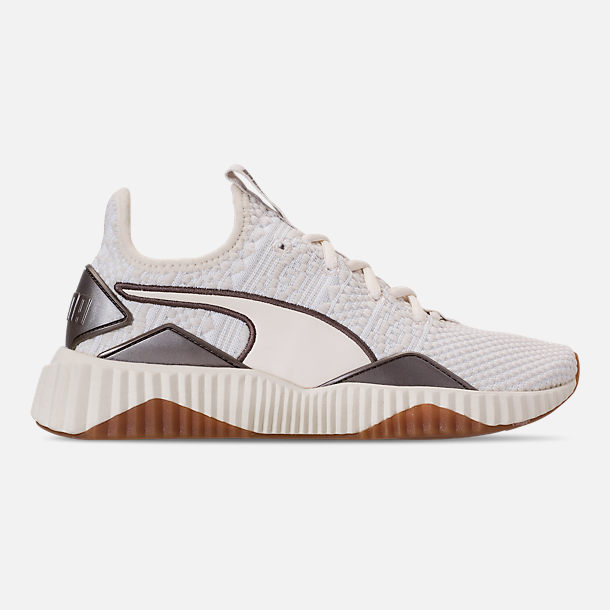 e28af9a56b0f Right view of Women s Puma Defy Luxe Casual Shoes in Whisper White Metallic  Ash