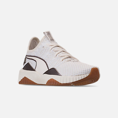 d17c54a46fef32 Three Quarter view of Women s Puma Defy Luxe Casual Shoes in Whisper  White Metallic Ash