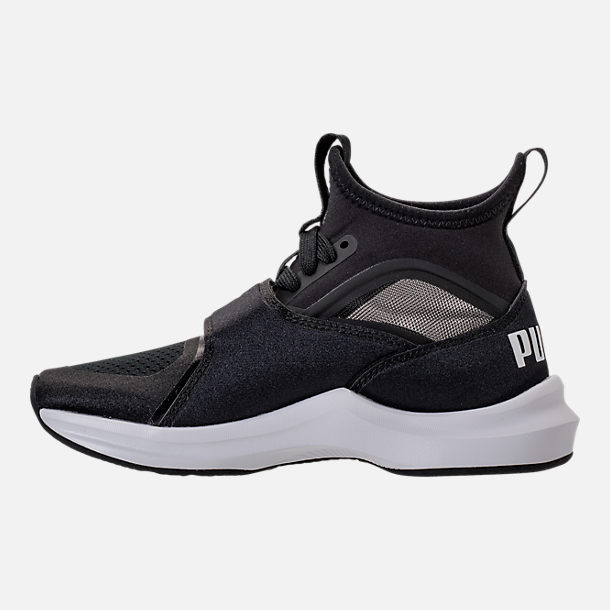 Left view of Girls' Preschool Puma Phenom Casual Shoes in Black/White