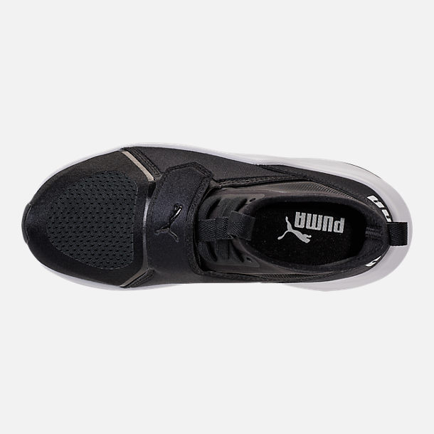 Top view of Girls' Preschool Puma Phenom Casual Shoes in Black/White