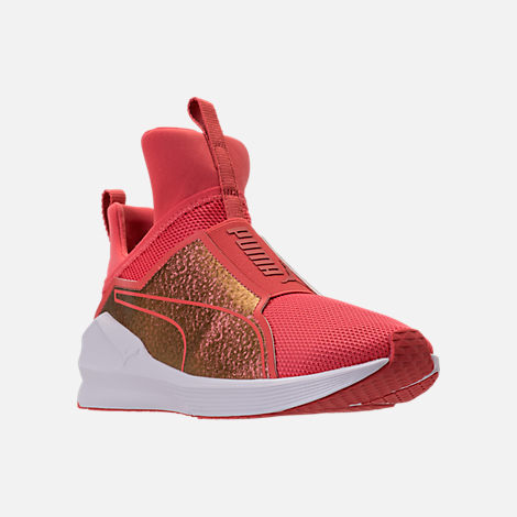 Three Quarter view of Girls' Grade School Puma Fierce Training Shoes in Spiced Coral
