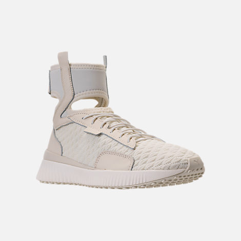 Three Quarter view of Women's Puma x Rihanna Fenty Trainer Mid Geo Casual Shoes in Vanilla Ice/Sterling Blue