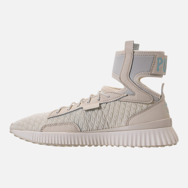 Left view of Women's Puma x Rihanna Fenty Trainer Mid Geo Casual Shoes in Vanilla Ice/Sterling Blue
