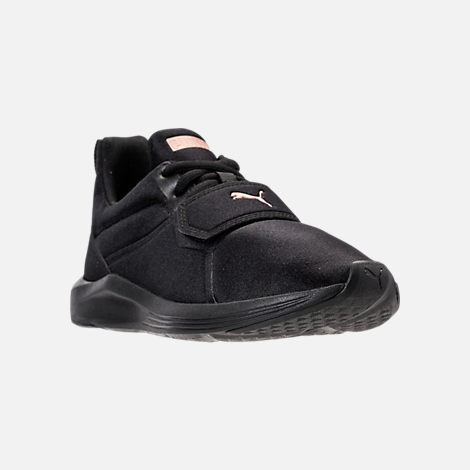 Three Quarter view of Women's Puma Prodigy Training Shoes in Puma Black/Rose Gold