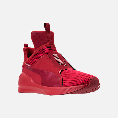 Three Quarter view of Unisex Puma Fierce Core Mono Casual Shoes in Red/Metallic