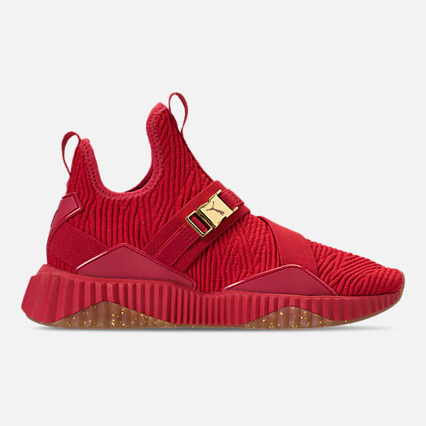 Right view of Women's Puma Defy Mid Casual Shoes in Red/Metallic Gold