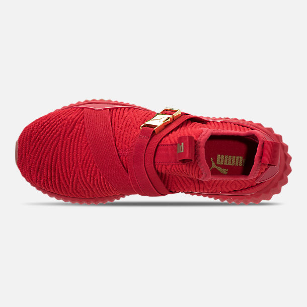Top view of Women's Puma Defy Mid Casual Shoes in Red/Metallic Gold