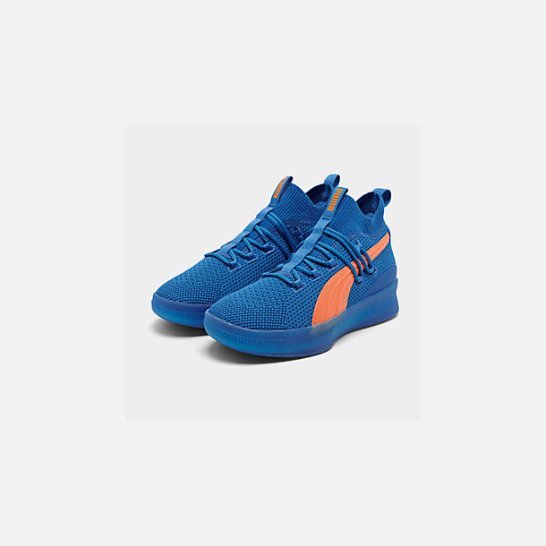 530069e82 Three Quarter view of Men's Puma Clyde Court Basketball Shoes in Strong  Blue/Shocking Orange