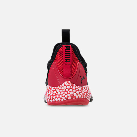 Back view of Boys' Big Kids' Puma Hybrid Rocket Runner Casual Shoes in Puma Black/Ribbon Red