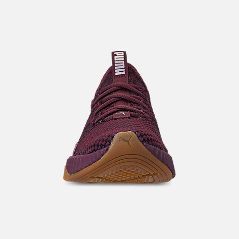 Front view of Girls' Big Kids' Puma Defy Luxe Casual Shoes in Fig Metallic Ash