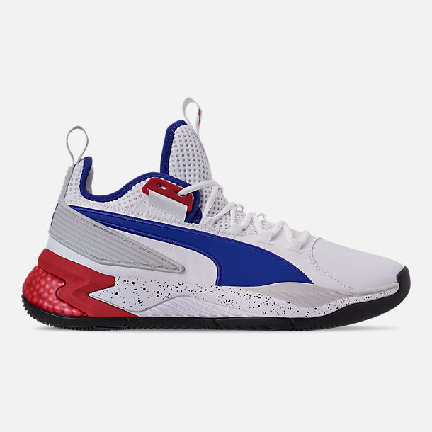 Right view of Men's Puma Uproar Palace Guard Basketball Shoes in Puma White/Surf the Web