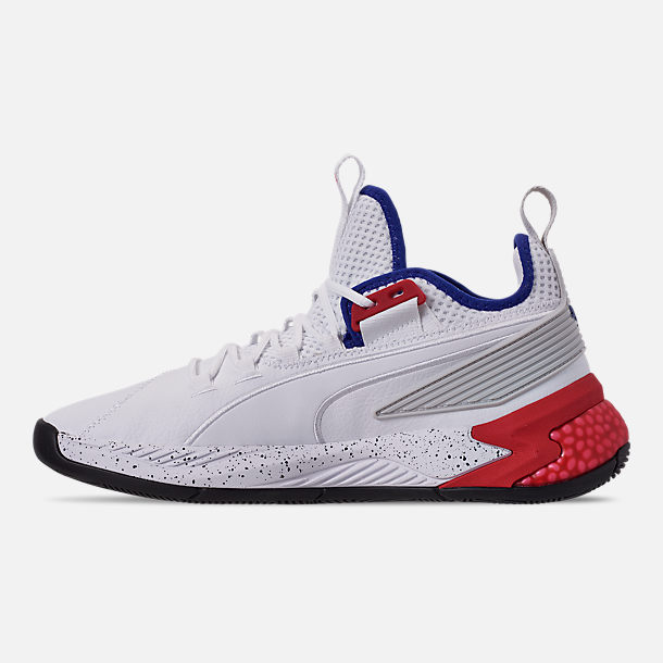 Left view of Men's Puma Uproar Palace Guard Basketball Shoes in Puma White/Surf the Web