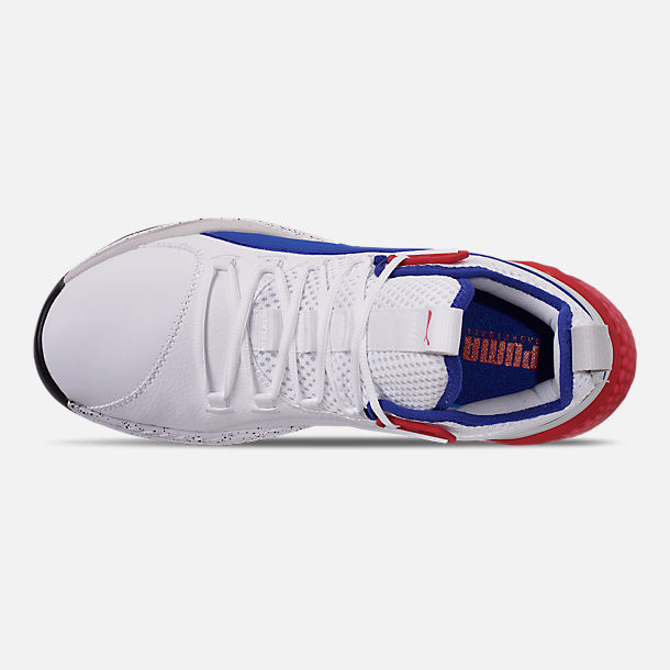 Top view of Men's Puma Uproar Palace Guard Basketball Shoes in Puma White/Surf the Web