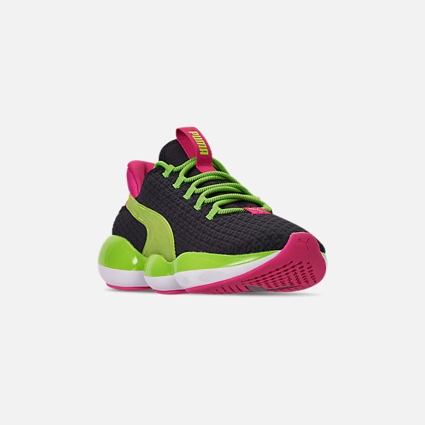 Three Quarter view of Women's Puma Mode XT Casual Shoes in Black/Lime Punch/Fuchsia Purple