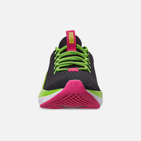 Front view of Women's Puma Mode XT Casual Shoes in Black/Lime Punch/Fuchsia Purple
