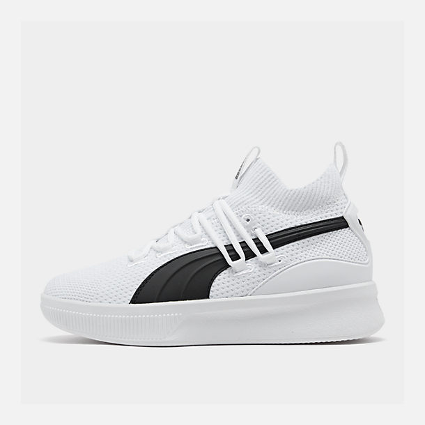 Right view of Boys' Big Kids' Puma Clyde Court Casual Shoes in White/Black