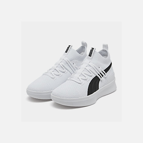 Three Quarter view of Boys' Big Kids' Puma Clyde Court Casual Shoes in White/Black