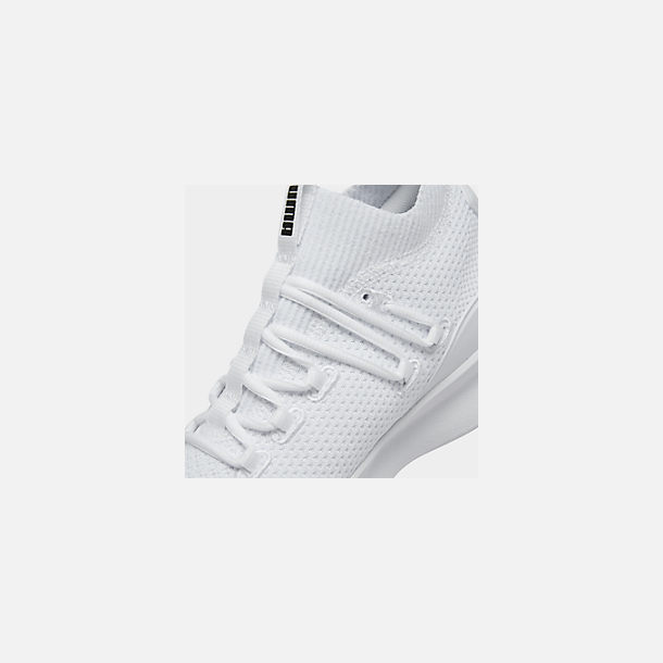 Front view of Boys' Big Kids' Puma Clyde Court Casual Shoes in White/Black