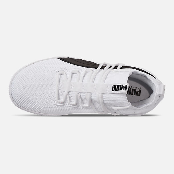 Top view of Boys' Big Kids' Puma Clyde Court Casual Shoes in White/Black